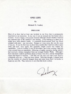 Autographs: RICHARD E. LEAKEY - TYPESCRIPT SIGNED