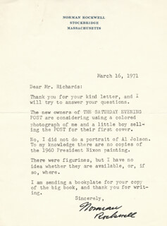 NORMAN ROCKWELL - TYPED LETTER SIGNED 03/16/1971