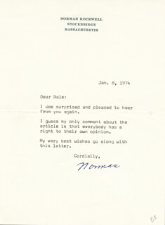 NORMAN ROCKWELL - TYPED LETTER SIGNED 01/08/1974