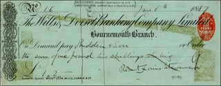 ROBERT LOUIS STEVENSON - AUTOGRAPHED SIGNED CHECK 01/08/1887