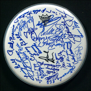 PERCY SLEDGE - DRUMHEAD SIGNED CO-SIGNED BY: LEON REDBONE, ISAAC HAYES, BOBBY RUSH, RUTH BROWN, CAREY BELL, BOBBY PARKER, BOOKER T. JONES, ODETTA GORDON, MAVIS STAPLES, DR. JOHN (MAC REBENNACK), WALTER WOLFMAN WASHINGTON, LONNIE BROOKS, WILLIE BIG EYES SMITH, GUITAR SHORTY (DAVID KEARNEY), BOB MARGOLIN, BENNY LATIMORE, LOUISIANA RED (IVERSON MINTER), JOHN PRIMER, JIMMY NELSON, BIG JESSE YAWN, EDDIE KIRKLAND, SONNY LANDRETH, STEVE CROPPER, DUCK (DONALD) DUNN, LURRIE BELL, JOHN MOONEY, REV. BILLY C. WIRTZ, ROY CHUBBY CARRIER