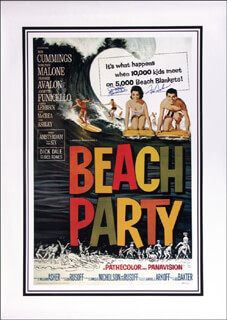 BEACH PARTY MOVIE CAST - AUTOGRAPHED SIGNED POSTER CO-SIGNED BY: ANNETTE FUNICELLO, FRANKIE AVALON