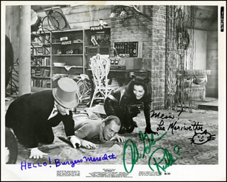 Autographs: BATMAN MOVIE CAST - PHOTOGRAPH SIGNED CO-SIGNED BY: LEE MERIWETHER, BURGESS MEREDITH, FRANK GORSHIN