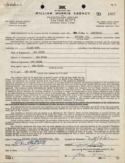 MILTON BERLE - CONTRACT DOUBLE SIGNED 09/21/1948 CO-SIGNED BY: ALLEN ROTH, NAT HIKEN