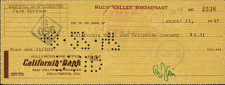 RUDY VALLEE - AUTOGRAPHED SIGNED CHECK 08/21/1947