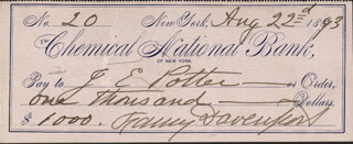 FANNY DAVENPORT - AUTOGRAPHED SIGNED CHECK 08/22/1893