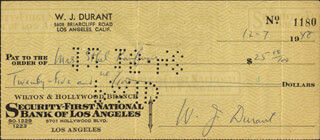 WILL DURANT - AUTOGRAPHED SIGNED CHECK 12/07/1948