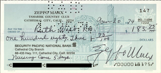 ZEPPO (HERBERT) MARX - AUTOGRAPHED SIGNED CHECK 01/20/1974