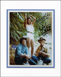DUKES OF HAZZARD TV CAST - AUTOGRAPHED SIGNED PHOTOGRAPH CO-SIGNED BY: JOHN SCHNEIDER, CATHERINE BACH, TOM WOPAT