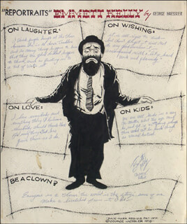 EMMETT KELLY SR. - AUTOGRAPH QUOTATION SIGNED 11/29/1958