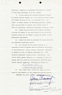 JAMES JIMMY STEWART - DOCUMENT SIGNED 03/02/1965 CO-SIGNED BY: GLORIA STEWART