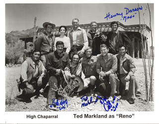 HIGH CHAPARRAL TV CAST - AUTOGRAPHED SIGNED PHOTOGRAPH CO-SIGNED BY: HENRY DARROW, ROBERT F. BOB HOY, TED MARKLAND, DON COLLIER
