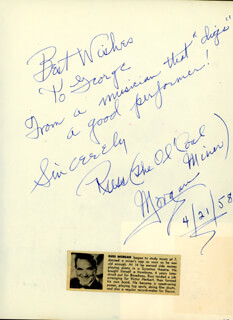 RUSS MORGAN - AUTOGRAPH NOTE SIGNED 04/21/1958 CO-SIGNED BY: CISCO ANDRADE