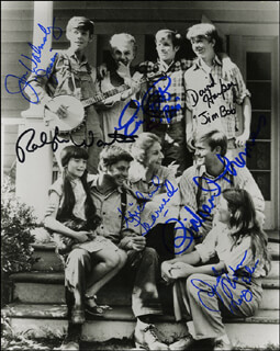 THE WALTONS TV CAST - AUTOGRAPHED SIGNED PHOTOGRAPH CO-SIGNED BY: RICHARD THOMAS, RALPH WAITE, ERIC S. SCOTT, MICHAEL LEARNED, JUDY NORTON-TAYLOR, JON WALMSLEY, DAVID HARPER