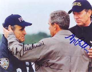 PRESIDENT GEORGE W. BUSH - AUTOGRAPHED SIGNED PHOTOGRAPH CO-SIGNED BY: MAYOR RUDOLPH RUDY GIULIANI, GEORGE PATAKI
