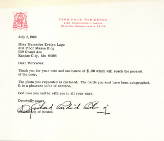 RICHARD CARDINAL CUSHING - TYPED LETTER SIGNED 07/08/1968