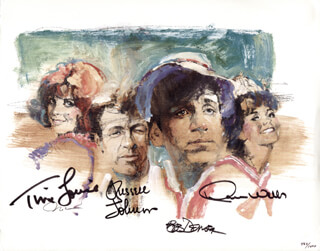 GILLIGAN'S ISLAND TV CAST - PRINTED ART SIGNED CO-SIGNED BY: RUSSELL JOHNSON, BOB DENVER, TINA LOUISE, DAWN WELLS