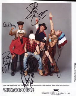 VILLAGE PEOPLE - AUTOGRAPHED SIGNED PHOTOGRAPH CO-SIGNED BY: VILLAGE PEOPLE (ALEX BRILEY), VILLAGE PEOPLE (JEFF OLSON), VILLAGE PEOPLE (RAY SIMPSON), VILLAGE PEOPLE (DAVID HODO), VILLAGE PEOPLE (ERIC ANZALONE)