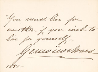 DAME GENEVIEVE WARD - AUTOGRAPH QUOTATION SIGNED 1881