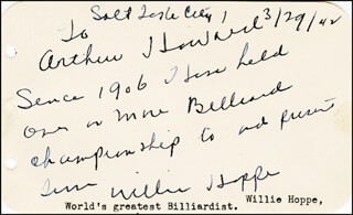 WILLIE HOPPE - AUTOGRAPH NOTE SIGNED 03/29/1942