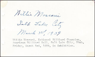WILLIE MOSCONI - AUTOGRAPH 03/03/1939