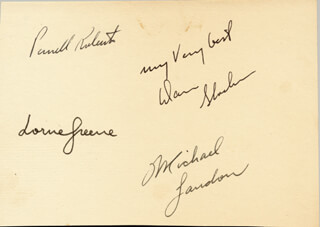 BONANZA TV CAST - SIGNATURE(S) CO-SIGNED BY: PERNELL ROBERTS, MICHAEL LANDON, LORNE GREENE, DAN HOSS BLOCKER