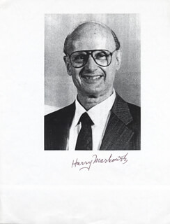 Autographs: HARRY M. MARKOWITZ - PRINTED PHOTOGRAPH SIGNED IN INK