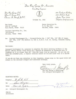 BEN HOGAN - DOCUMENT SIGNED 11/13/1982 CO-SIGNED BY: CLARENCE H. STUMPF, JR.