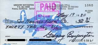COLONEL GREG PAPPY BOYINGTON - AUTOGRAPHED SIGNED CHECK 05/19/1980