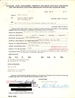 EDDIE BRACKEN - CONTRACT MULTI-SIGNED 05/02/1960