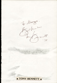 TONY BENNETT - AUTOGRAPH NOTE SIGNED 1978
