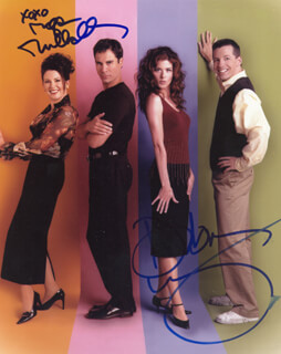 WILL & GRACE TV CAST - AUTOGRAPHED SIGNED PHOTOGRAPH CO-SIGNED BY: DEBRA MESSING, MEGAN MULLALLY