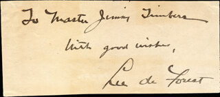 LEE DE FOREST - AUTOGRAPH NOTE SIGNED 11/04/1930  - HFSID 271578