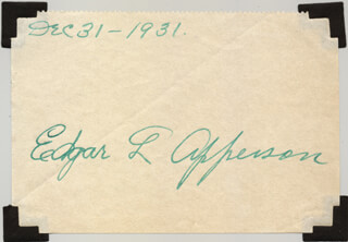 Autographs: EDGAR L. APPERSON - SIGNATURE(S) 12/31/1931