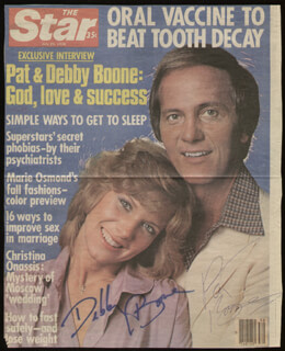 PAT BOONE - MAGAZINE COVER SIGNED CO-SIGNED BY: DEBBY BOONE