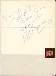 Autographs: PAT BOONE - AUTOGRAPH NOTE SIGNED CO-SIGNED BY: BOBBY KAY