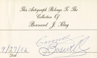 THE BOSWELL SISTERS (CONNEE BOSWELL) - PRINTED CARD SIGNED IN INK 09/27/1956