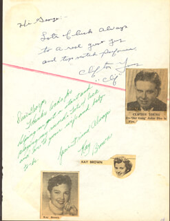 Autographs: KAY BROWN - AUTOGRAPH NOTE SIGNED CO-SIGNED BY: CLIFTON YOUNG, RONNIE KEMPER, RENNY MCEVOY, BILL PEPPERS