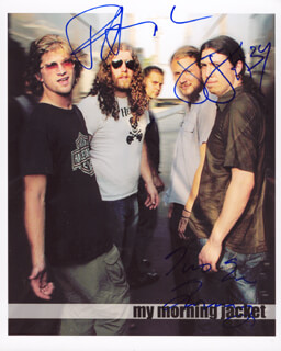 MY MORNING JACKET - AUTOGRAPHED SIGNED PHOTOGRAPH CO-SIGNED BY: MY MORNING JACKET (PATRICK HALLAHAN), MY MORNING JACKET (JIM JAMES), MY MORNING JACKET (TWO TONE TOMMY )