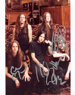 OPETH - AUTOGRAPHED SIGNED PHOTOGRAPH CO-SIGNED BY: OPETH (PETER LINDGREN), OPETH (MIKEAL AKERFELD), OPETH (MARTIN LOPEZ)