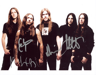 OPETH - AUTOGRAPHED SIGNED PHOTOGRAPH CO-SIGNED BY: OPETH (PETER LINDGREN), OPETH (MARTIN MENDEZ), OPETH (MIKEAL AKERFELD), OPETH (MARTIN LOPEZ)