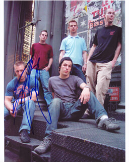 THE DILLINGER ESCAPE PLAN - AUTOGRAPHED SIGNED PHOTOGRAPH CO-SIGNED BY: THE DILLINGER ESCAPE PLAN (BEN WEINMAN), THE DILLINGER ESCAPE PLAN (CHRIS PENNIE), THE DILLINGER ESCAPE PLAN (BRIAN BENOIT), THE DILLINGER ESCAPE PLAN (JAMES LOVE), THE DILLINGER ESCAPE PLAN (GREG PUCIATO)
