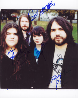 THE MAGIC NUMBERS - AUTOGRAPHED SIGNED PHOTOGRAPH CO-SIGNED BY: THE MAGIC NUMBERS (MICHELE STODART), THE MAGIC NUMBERS (ROMEO STODART), THE MAGIC NUMBERS (SEAN GANNON), THE MAGIC NUMBERS (ANGELA GANNON)
