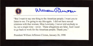 Autographs: PRESIDENT WILLIAM J. BILL CLINTON - TYPESCRIPT SIGNED