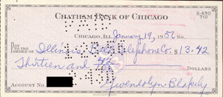 GWENDOLYN BROOKS - AUTOGRAPHED SIGNED CHECK 01/19/1956