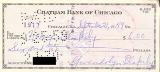 GWENDOLYN BROOKS - AUTOGRAPHED SIGNED CHECK 09/21/1959 CO-SIGNED BY: HENRY L. BLAKELY