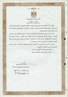 SADDAM HUSSEIN - DOCUMENT SIGNED