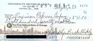 GWENDOLYN BROOKS - AUTOGRAPHED SIGNED CHECK 05/25/1980