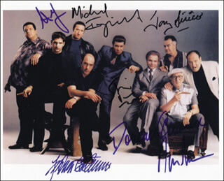 THE SOPRANOS TV CAST - AUTOGRAPHED SIGNED PHOTOGRAPH CO-SIGNED BY: JAMES GANDOLFINI, MICHAEL IMPERIOLI, STEVEN VAN ZANDT, TONY SIRICO, DOMINIC CHIANESE, FEDERICO CASTELLUCCIO