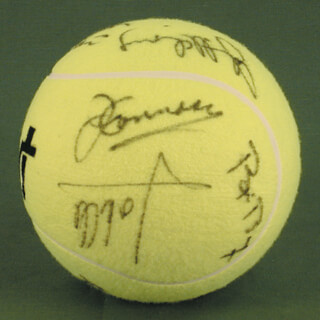 Autographs: JIMMY CONNORS - TENNIS BALL SIGNED CO-SIGNED BY: JOHN McENROE, BJORN BORG, ANDRES GOMEZ, MATS WILANDER, HENRI LE CONTE